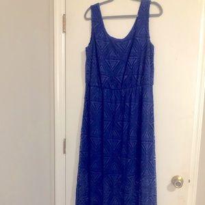 Royal Blue crocheted sleeveless dress size XL